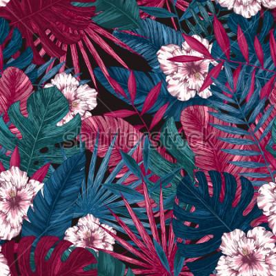 Väggdekor Exotiska blad och blommor sömlösa mönster. Tropisk blommig bakgrund. Vektorillustration