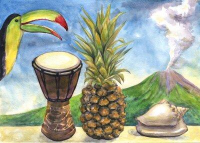 Väggdekor Exotiska stilleben. Akvarellmålning. Ananas, trumma, Toucan, snäckskal, vulkan