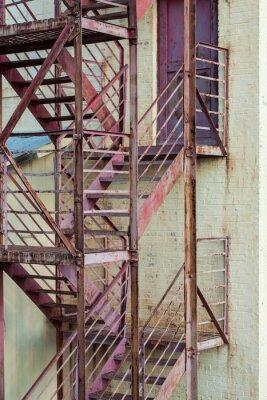 Väggdekor exteriör fire fly trappor på tillverkning byggnad