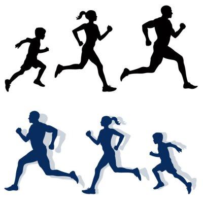Väggdekor familj jogging silhuetter