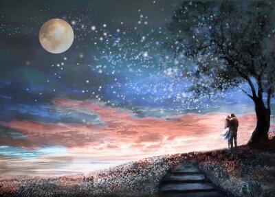 Väggdekor Fantasy illustration med nattsky och MilkyWay, stjärnor månen. Kvinna och man under ett träd som tittar på rymdlandskapet. Blommig äng och trappor. Målning.