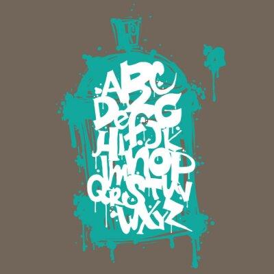Väggdekor Färgglada graffiti font alfabetet. Hip hop grafitti utformning