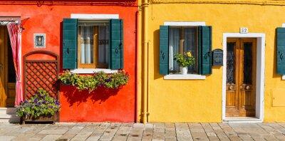 Väggdekor Färgglada hus fasad i Burano, Italien