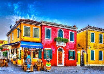 Väggdekor färgglada hus i en rå på Burano ö nära Venedig Italien. HDR
