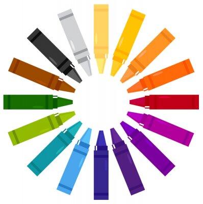 Väggdekor Färgglada kritor i cirkel isolerade på vit