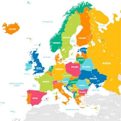 Väggdekor Färgglada vektor karta över Europa