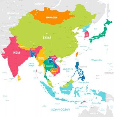 Väggdekor Färgglada vektor karta över östra Asien