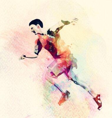 Väggdekor Färgrik akvarellmålning av man kör. Abstrakt kreativ sport bakgrund