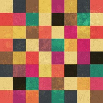 Väggdekor Färgrik åldrade fyrkanter. Seamless mönster. Grunge skikten kan vara ea