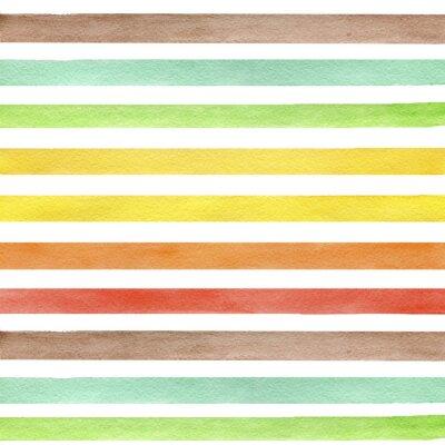 Väggdekor Färgrik handritad verkliga akvarell seamless med gult, grönt och brunt horisontella remsor. Abstrakt grunge seamless. Remsor på vit bakgrund.