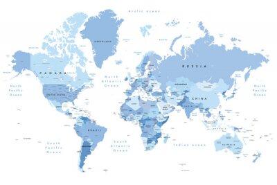 Väggdekor Färgrik illustration av en världskarta som visar landnamn, statnamn (USA och Australien), huvudstäder, större sjöar och oceaner. Skriv ut med minst 36