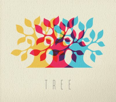 Väggdekor Färgrik träd silhuett begrepp bakgrund