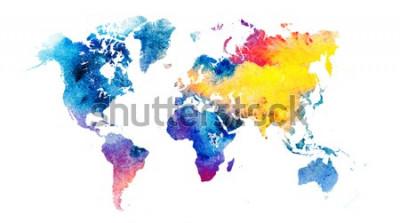 Väggdekor Färgrik vattenfärg världskarta.