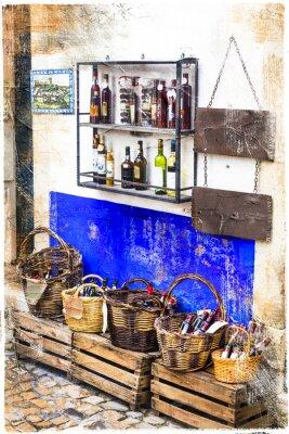 Väggdekor färgstarka butiker i gamla stan Obidos i Portugal, konstnärlig bild
