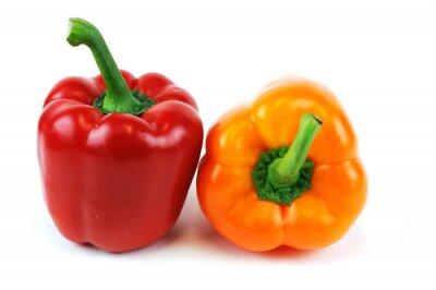 Väggdekor färgstarka paprika isolerad på vit bakgrund