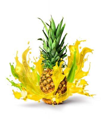 Väggdekor Färsk ananas frukt saftig smak splash