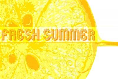 Väggdekor Färsk citron med text färsk sommar