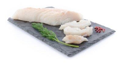 Väggdekor Färsk rå torskfilé på en skiffer platta