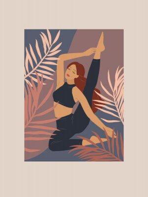 Väggdekor Feminine concept. Cute girl doing yoga poses. Lifestyle by young woman. Fashion illustration by femininity, beauty and mental health. Vector cartoon