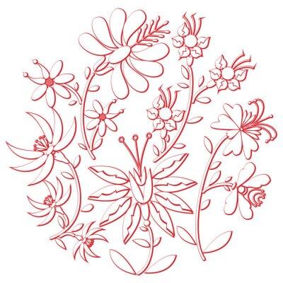 Väggdekor Fest dag folk och broderi utklipp inspirerad av östra europeiska kulturen rund form i vitt med blommiga inslag med röd stroke med 3D-effekt