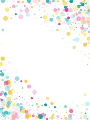 Väggdekor Festlig bakgrund för Memphis rund konfetti i cyanblått, rosa och gult. Barnslig mönstervektor.
