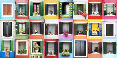 Väggdekor Finestre colorate di Burano
