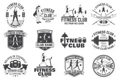 Väggdekor Fitness club märken. Vektor. För fitnesscentra emblem, gym tecken och andra.