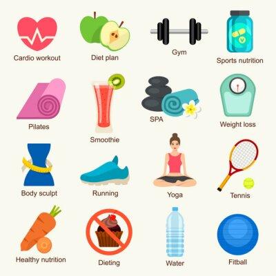 Väggdekor Fitness ikoner