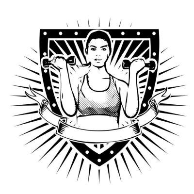 Väggdekor fitness kvinna sköld