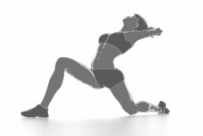 Väggdekor Fitness kvinna sträcker på vitt isolerade - värma upp koncept