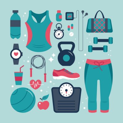 Väggdekor Fitness och hälsa platta ikoner som