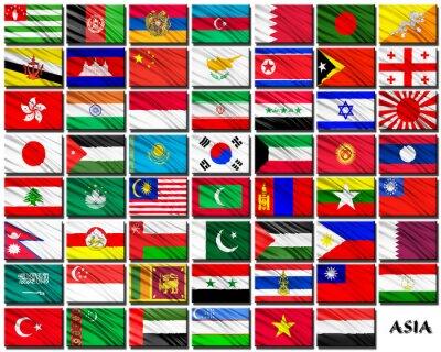 Väggdekor Flaggor av asiatiska länder i alfabetisk ordning