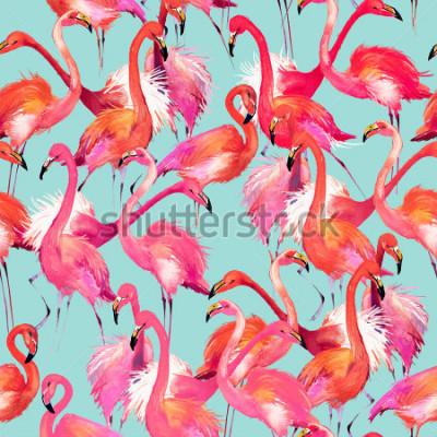 Väggdekor flamingo birds seamless background. Watercolor tropical nature pattern.