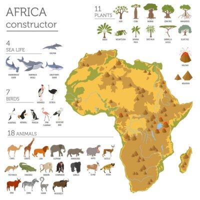 Väggdekor Flat Afrika flora och fauna karta konstruktörs element. Djur, b