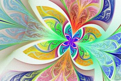 Väggdekor Flerfärgad Fractal blomma eller fjäril bakgrund målat g