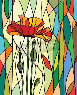 Väggdekor Flerfärgad målat glas med blomstermotiv