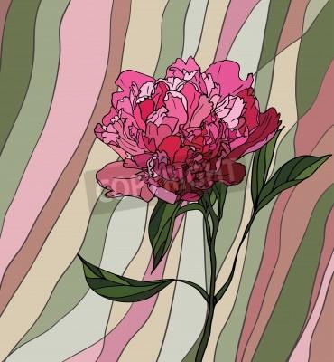 Väggdekor Flerfärgad målat glas med blomstermotiv, en pion på en mångfärgad randig bakgrund