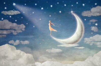 Väggdekor Flicka på månen beundrar natthimlen - illustrationskonst