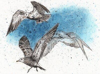 Väggdekor Flock of Seagulls