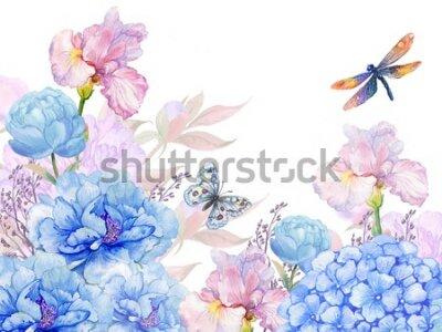 Väggdekor floral background .illustration of watercolor. flowers peonies, irises, hydrangeas,butterflies and dragonflies . postcard floral pattern