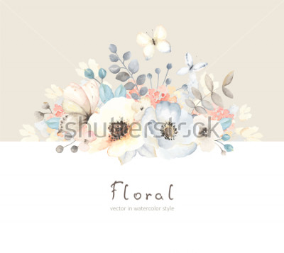 Väggdekor Floral card with flowers, leaves, branches and butterfies in vintage watercolor style. Holiday template for your text, vector illustration on beige and white background.