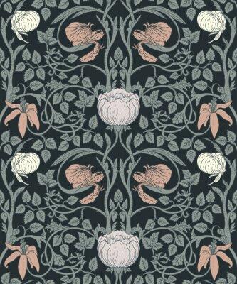 Väggdekor Floral vintage sömlös mönster för retro tapeter. Förtrollade vintageblommor. Konst och hantverk rörelse inspirerad.