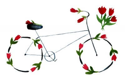 Väggdekor Flower bike. Hand drawn watercolor illustration on paper. Black noir bike with red roses, poppies with green leaves. Romantic love. Isolated on white background