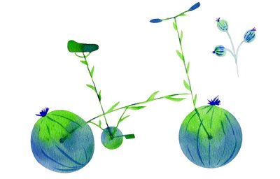 Väggdekor Flower bike. Hand drawn watercolor illustration on paper. Green and blue bicycle flower with calyx round fruit buds briar and leaves. Isolated on white background