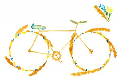 Väggdekor Flower spring summer bike. Hand drawn watercolor illustration on paper.  Yellow bicycle with meadow flowers blue and ears of cereal: wheat, rye. Isolated on white background