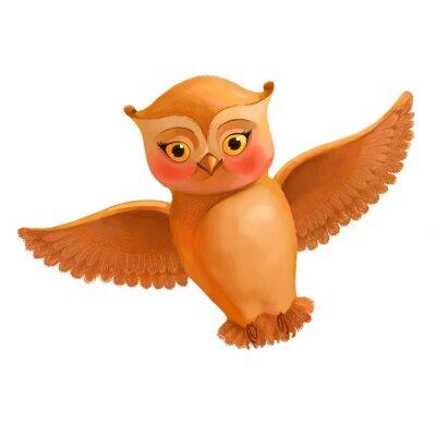 Väggdekor Flygande uggla ikon. Illustration i tecknad stil med en brun uggla. S