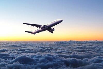 Väggdekor Flygplan på himlen vid soluppgången