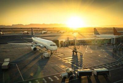 Väggdekor Flygplan vid terminalen grinden i internationella flygplats