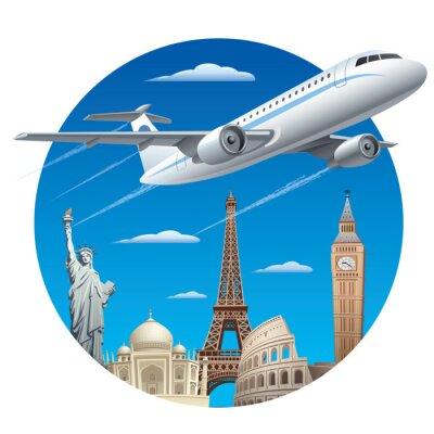 Väggdekor flygresor koncept
