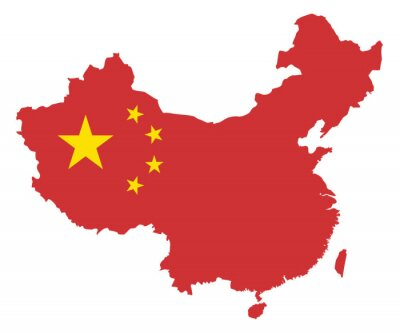 Väggdekor Folkrepubliken Kina sjunker i Map Vector Illustration